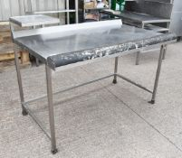 1 x Stainless Steel Workstation With Monitor / Printer Shelf - Dimensions: H92 x W150 x D90 cms