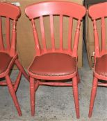 4 x Andy Thornton Solid Wood Farmhouse Dining Chairs Finished in Red With Studded Leather Seating Pa