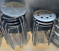 12 x Assorted Outdoor Round Metal Bistro Stools - Designs And Finishes - CL677 - Location: London