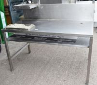 1 xStainless Steel Workstation With Monitor / Printer Shelf, Undershelf and Splashback -