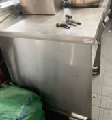 1 x Stainless Steel Commercial PrepCounter With Slide-out Shelf And Upstand- Ref: MAN106 - CL677 -