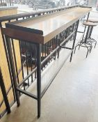 1 x 3-Metre Long Diner / Breakfast Bar Featuring A Solid Wood Top And Solid Metal Frame