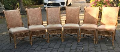 A Set Of 6 x Matching Upholstered High Back Bamboo Chairs - In Very Good Condition - CL535 - Ref: UN