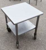 1 x Small Stainless Streel Table With Undershelf and Castor Wheels - Dimensions: H66 x W60 x D60 cms