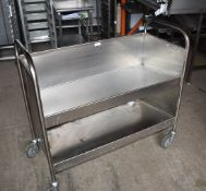 1 x Stainless Steel Trolley With Slanting Shelves and Heavy Duty Castors - Dimensions: H98 x W103