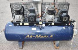 1 x Fiac Air-Main Belt Drive Tandem Air Compressor - 230v - Model AMD40-250 - Includes Sterling