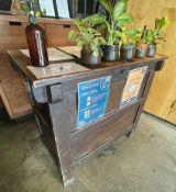1 x Rustic Solid Wood Reception Desk - Dimensions: H90 x W98 x D54cm - Ref: MAN133 - CL677 -