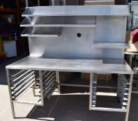 1 x Stainless Steel Prep Bench With Large Splashback Panel, Multiple Shelves and Tray Runners - Rece