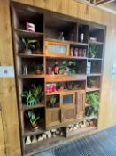 1 x Large Wooden Wall Unit / Bookcase Featuring Quirky Sliding Door Storage In The Middle -