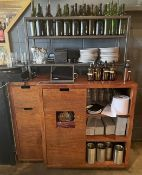 1 x Solid Wood Restaurant Supplies Cabinet With Sturdy Metal 2-Tier Shelving On Top - Dimensions: