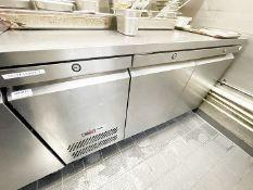 1 x Commercial 2-Door Stainless Steel Counter Fridge - Original RRP £2,195
