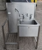 1 x Stainless Steel Janitorial Wash Station With Splashback and Mixer Tap - Recently Removed From