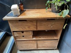 1 x Solid Wood Tableware StationSupply Cabinet Unit - Dimensions (approx): H90 x W101 x D45cm -