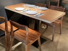 3 x Rectangular Wood-Topped Bistro Tables With Sturdy Metal Bases - Dimensions (approx): 120 x 60