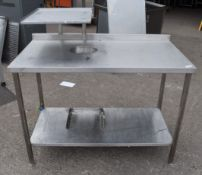 1 x Stainless Steel Workstation With Label Printer Shelf and Bin Chute - Dimensions: H86 x W120 x