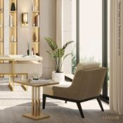 1 x FRATO 'Perth' Luxury Side Table With A Limed Wood Finish and Brushed Brass Details - RRP £1,626
