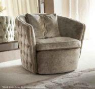 1 x GIORGIO COLLECTION 'LIFETIME' Luxury Upholstered Swivel Armchair - Original RRP £2,196.00