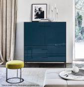 1 x B&B ITALIA 'Eucalipto' Designer Storage Unit With Teal Blue Back-painted Glass - RRP £7,407