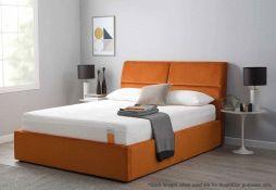 1 x TEMPUR Grafton Ottoman Double Bed Frame Upholstered In An Orange Velvet - 135x190cm - RRP £1,149