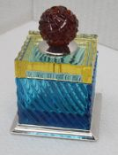 1 x BALDI 'Home Jewels' Italian Hand-crafted Artisan Crystal Box In Blue & Yellow, With A