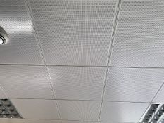 Approximately 80 x Metal Ceiling Tiles - Some With Lights - Each Tile Measures Around 59x59cm<
