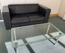 1 x Black 2-Seater Sofa With Glass Table - Dimensions: Sofa W160 x D80 x H73cm / Table W120 x D60 x