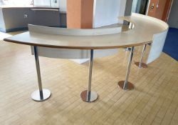 1 x Curved Workstation / Breakfast Bar - Dimensions: W390 x D50 x H99cm Ref: ED161 - To Be Removed F