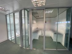 9 x Assorted Glass Office Dividers Panels With 2 x Glass Doors - Currently Covering 2 Offices