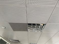 Approximately 80 x Metal Ceiling Tiles - Some With Lights - Each Tile Measures Around 59x59cm - Ref: