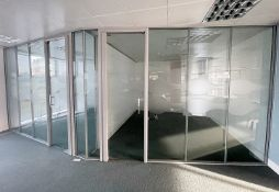 12 x Assorted Glass Partition Panels And Doors - Covers An Area Of 7.3 Metres Across, Height