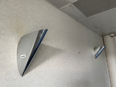 2 x Stylish Triangular Wall Uplighters With A Chrome Finish - Dimensions: 30 x 30cm-&nbs