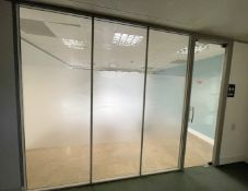 3 x Glass Office Partition Panels, And 1 x Glass Door With Release Button - Currently Covers An Area