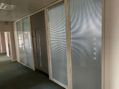 6 x Partition Panels - Includes 4 x Glazed With Privacy Blinds And2 x Slim Solid White Panels -