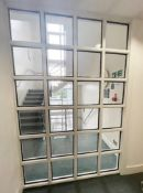 1 x 36-Panel Glass Office Partition Divider - Dimensions: W175 x H268cm - Ref: ED199 - To Be Removed