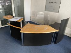 1 x Curved Wood Topped Reception Desk - Strainless Steel & Smoked Glass Construction - Ref: ED15