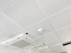 Approx. 120 xMetal Ceiling Tiles - Some With Lights - Each Tile Measures Around 59x59cm - Ref: