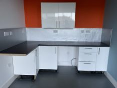 White Gloss Kitchen Units and Worktop - To Be Removed From An Executive Office Environment - CL684