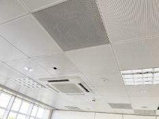 Approximately 65 x Metal Ceiling Tiles - Some With Lights - Each Tile Measures Around 59x59cm- Ref: