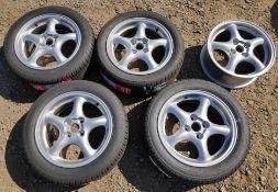 5 x Silver 5-Spoke 16x6 ET40 Standard Lightweight MX5 Wheels - 4 With New Tyres - CL682 -