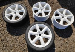 4 x White 6-Spoke 18 x 8 ET30 Wheels, 2 With Tyres - Nissan 350Z - CL682 - Location: Bedford NN29