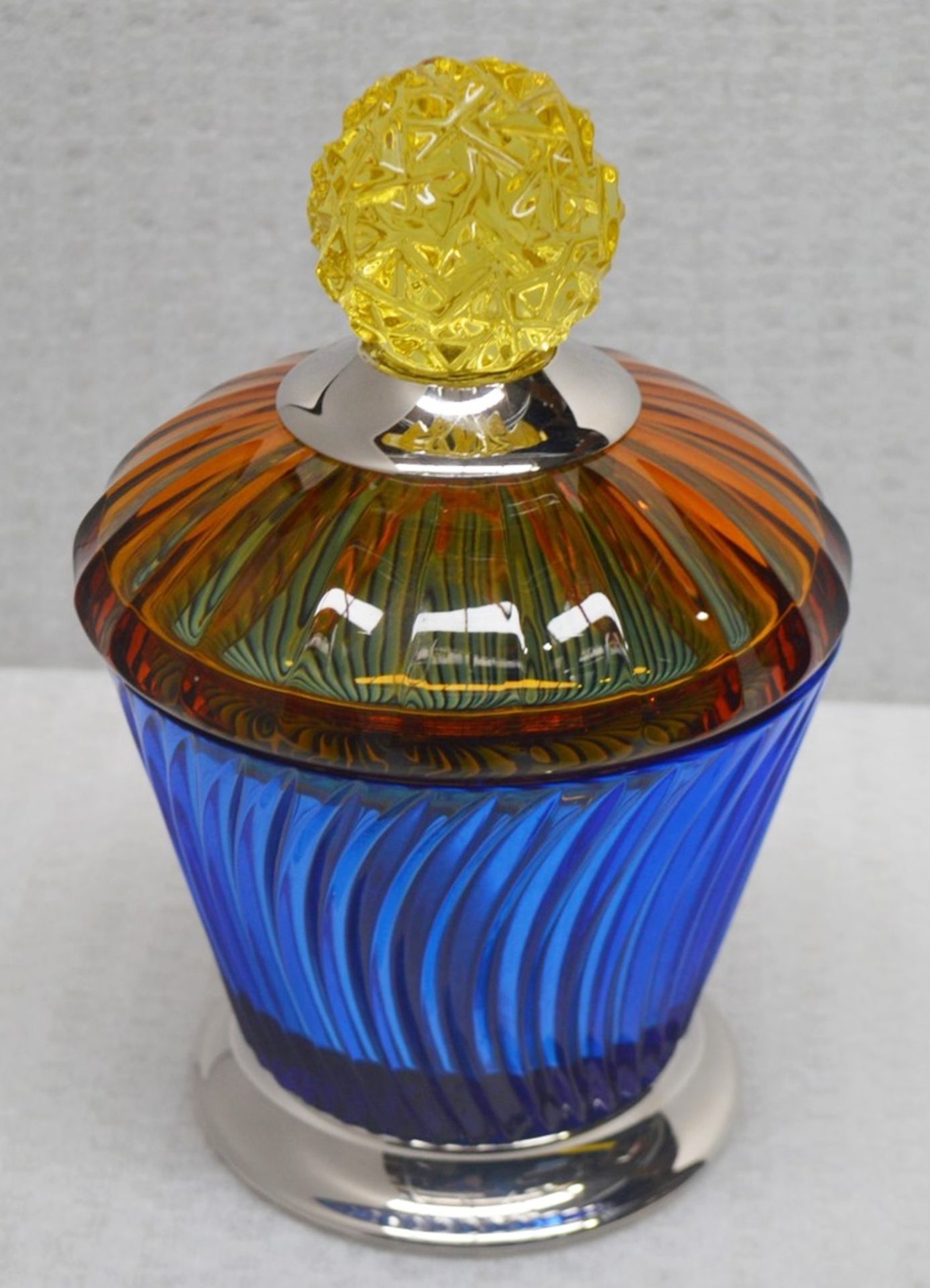 1 x BALDI 'Home Jewels' Italian Hand-crafted Artisan Crystal Marika Cup In Blue & Orange, With A