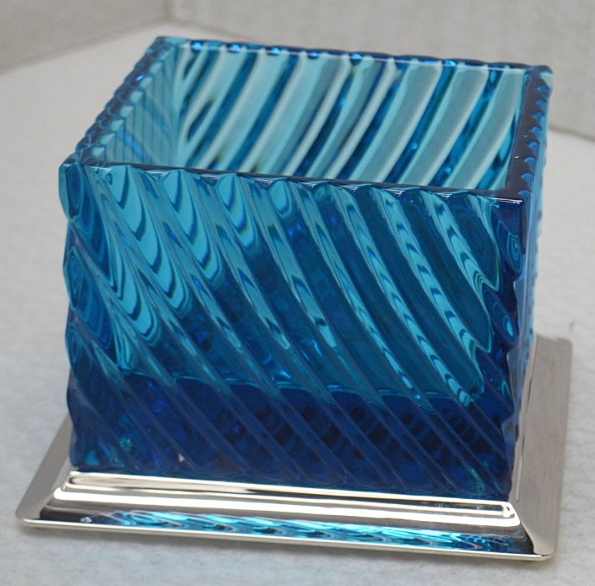 1 x BALDI 'Home Jewels' Italian Hand-crafted Artisan Crystal Box In Blue & Yellow, With A - Image 3 of 5