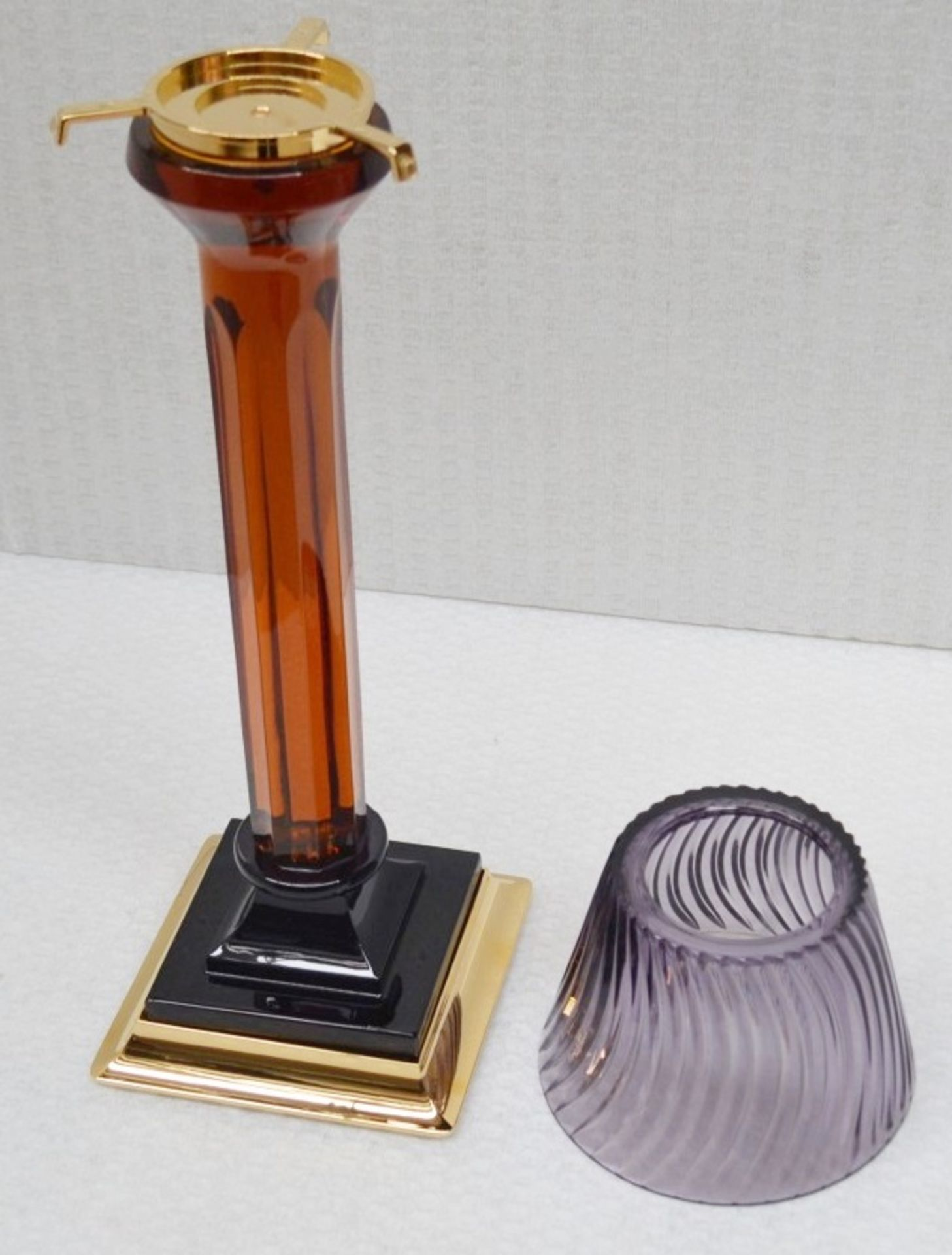 1 x BALDI 'Home Jewels' Italian Hand-crafted Artisan Candle Stick In Purple & Amber Crystal, With - Image 2 of 2