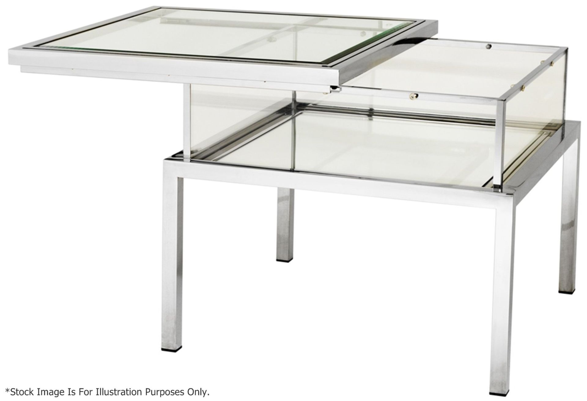 1 x EICHHOLTZ Glass Topped Side Table Harvey With A Polished Steel Frame - Original RRP £1,690
