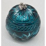 1 x BALDI 'Home Jewels' Italian Hand-crafted Artisan Crystal Coccinella Box In Turquoise - RRP £900