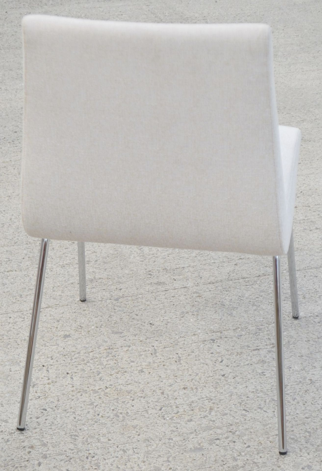 Pair Of LIGNE ROSET 'TV' Designer Dining Chairs In A Light Neutral Beige Fabric & Chromed Steel Legs - Image 3 of 9