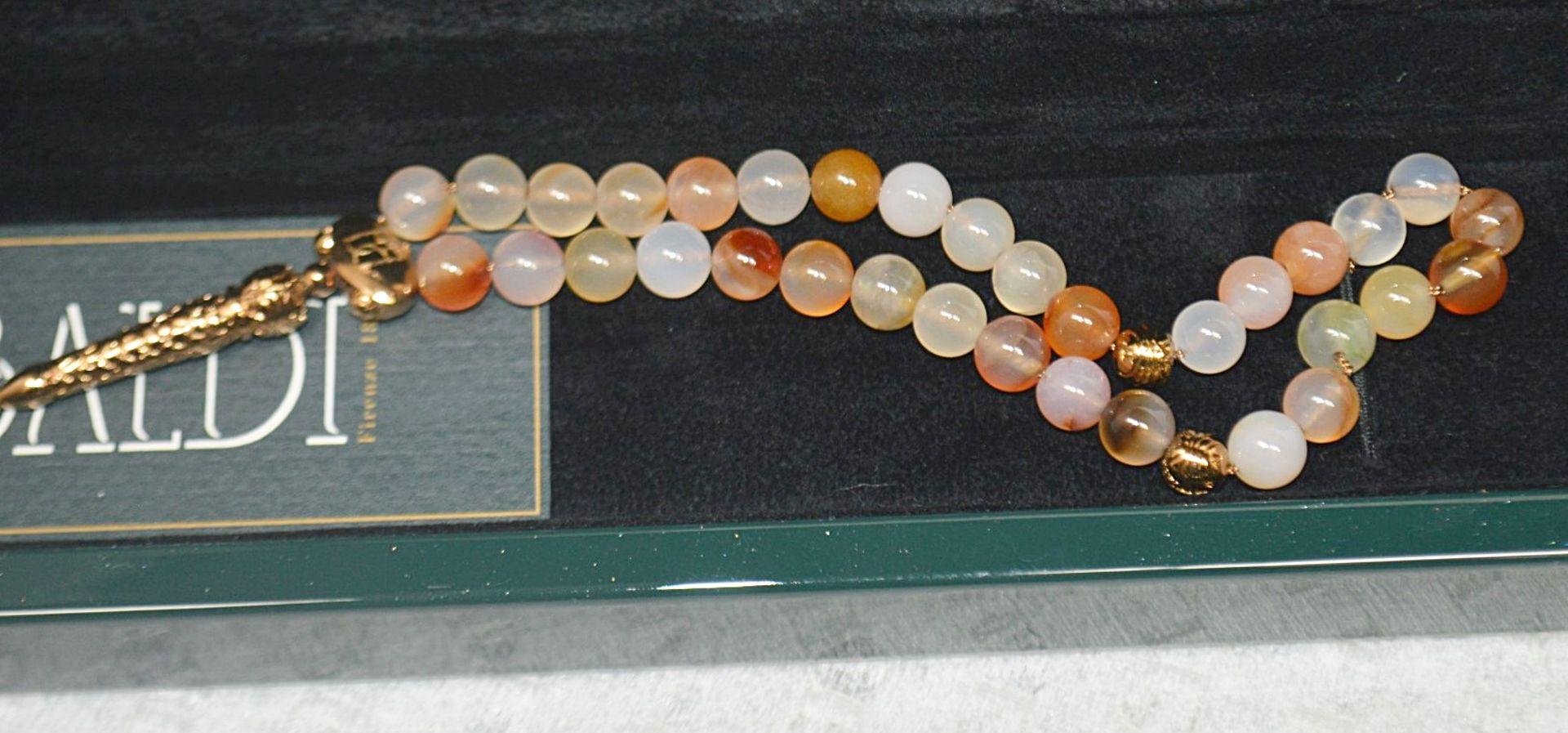 1 x BALDI 'Home Jewels' Italian Hand-crafted Artisan MISBAHA Prayer Beads In Cornelian Gemstone - Image 2 of 5