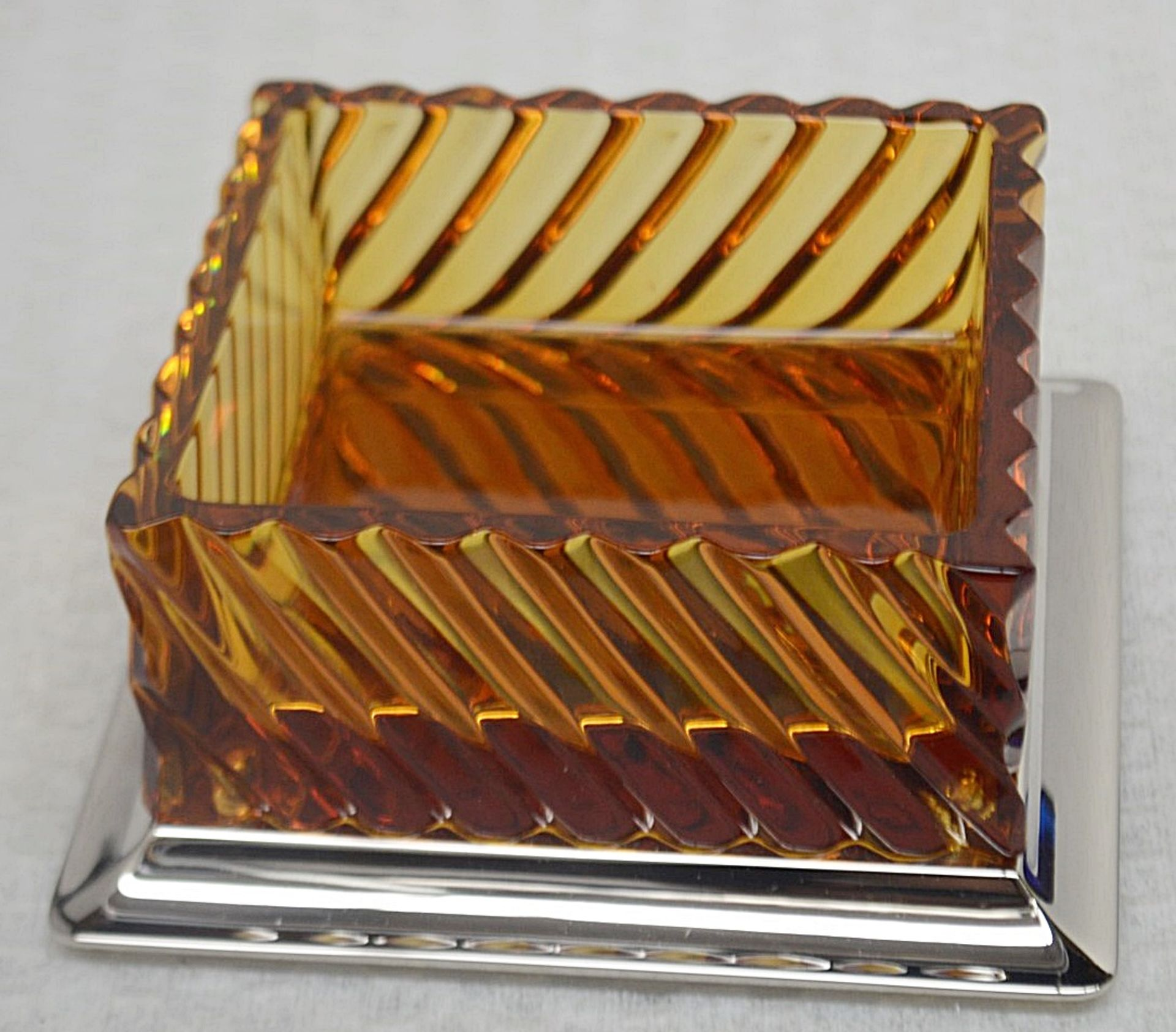 1 x BALDI 'Home Jewels' Italian Hand-crafted Artisan Crystal Box In Dark Blue / Yellow - RRP £1,015 - Image 2 of 4