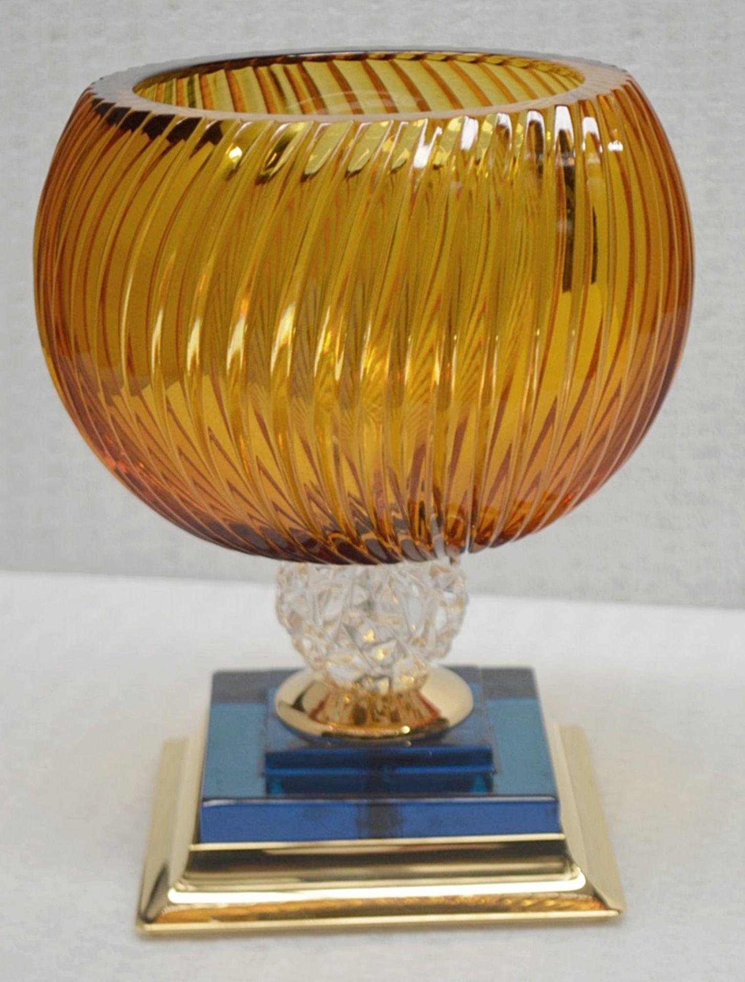 1 x BALDI 'Home Jewels' Italian Hand-crafted Artisan Coccinella Cup, In Orange & Blue Charme