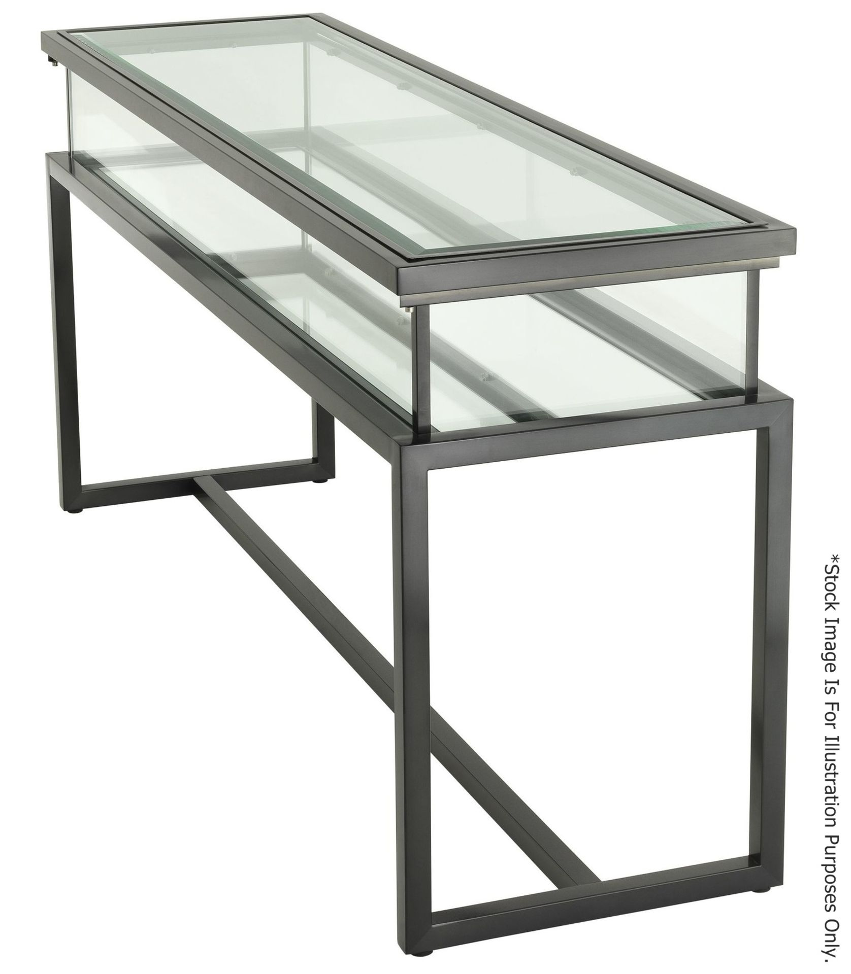 1 x EICHHOLTZ Luxury Console Table Harvey With A Sliding Glass Top And Steel Frame - RRP £3,839 - Image 2 of 16
